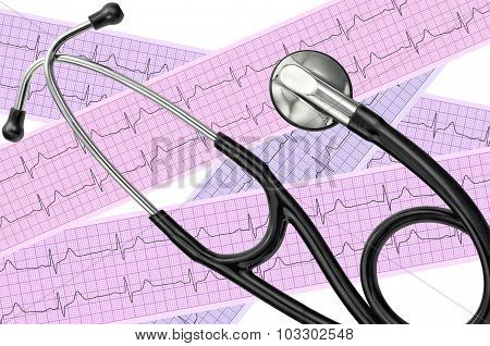 Heart Analysis, Electrocardiogram Graph (ecg) And Stethoscope