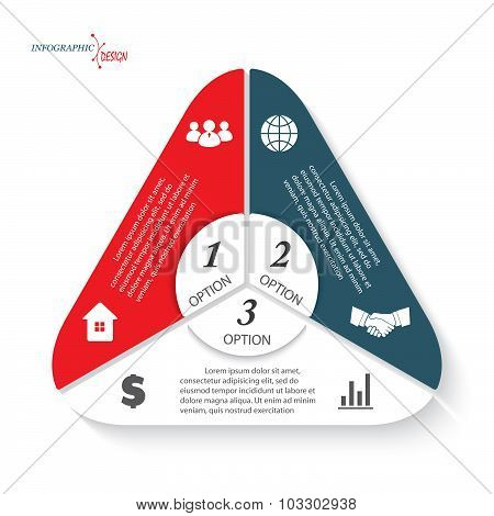 Triangle Infographic With Three Options Vector Template Can Be Used For Business Presentation