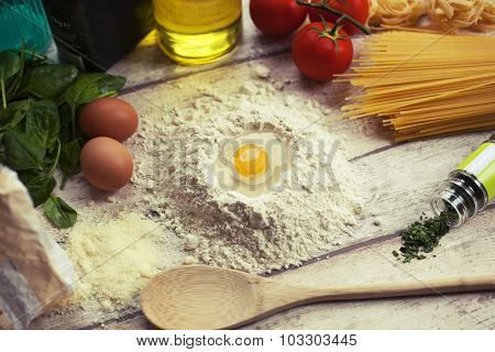 Preparing homemade traditional Italian food