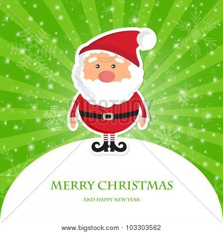 Cute Santa Claus on green ray  christmas background with lights and snowflakes. Christmas card, poster, web design