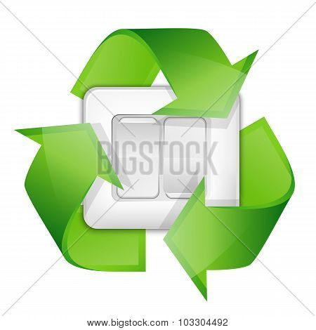 Light Switch With Recycle Symbol - Renewable Energy Concept. Vector Illustration
