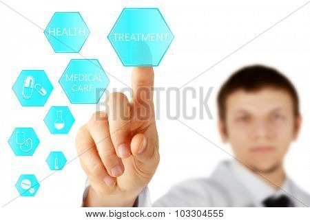 Doctor hand with medicine icons - medical technology concept