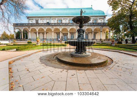 Old Fountain near Queen Anne's Summer Palace in Prague, Czech Re