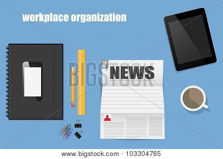 Workplace Organization In Flat Style Blue Background