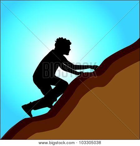 Boy Climbing To The Hill