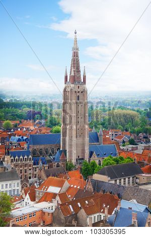 Church of Our Lady Bruges view from top, Belgium