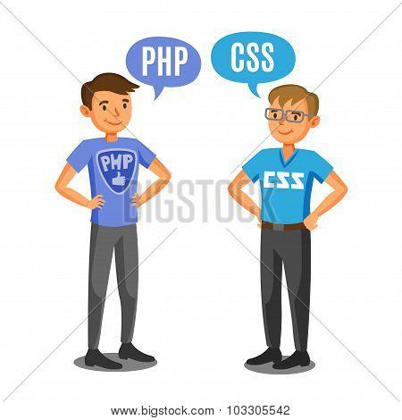Programmers, Developers, Process Coding, Teamwork. Communication Concept.