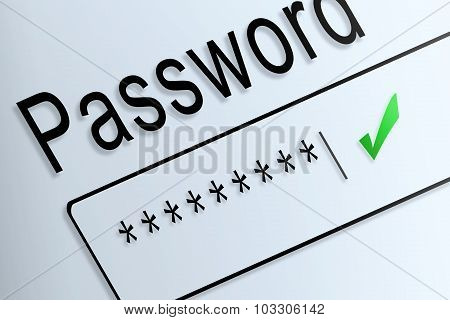 Close-up Type Password Correct Protect On Screen, Beware Social Online.