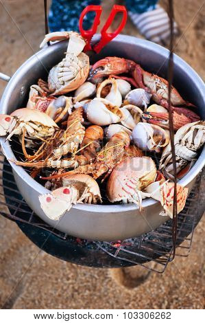 Boiled Seafood And Shellfish On Vietnamese Beach