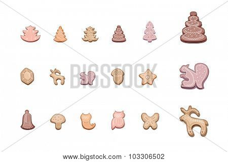 Set with cute festive Christmas cookies isolate on white. Objects for your design,posters, greeting cards, invitations.