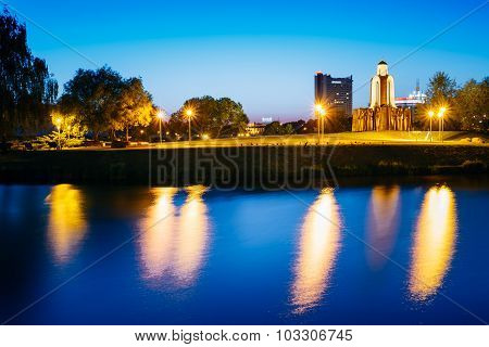 MINSK, BELARUS. Night scene of Island of Tears or Island of Courage and Sorrow, Ostrov Slyoz