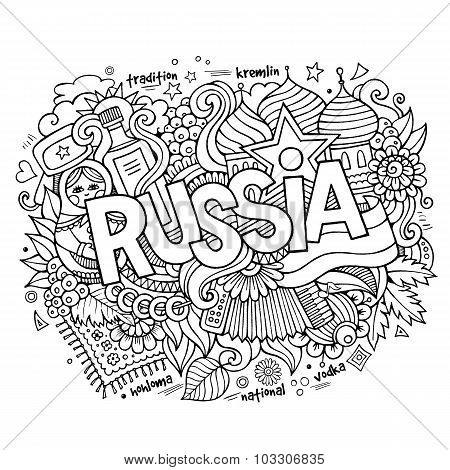 Russia hand lettering and doodles elements background