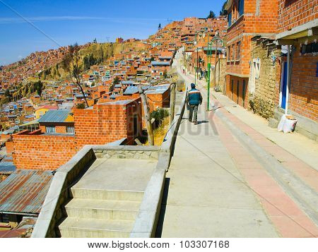 Houses of La Paz in Bolivia