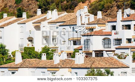 Village With Whitewashed Houses In Andalusia, Spain