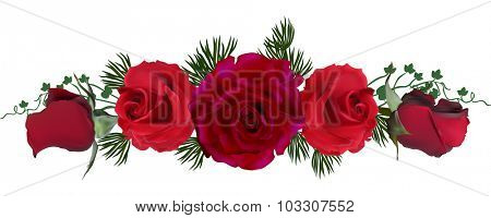 illustration with dark red rose flowers isolated on white background