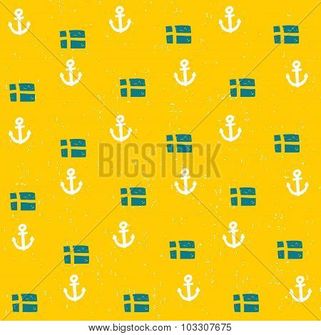 Seamless pattern with flags and anchors.