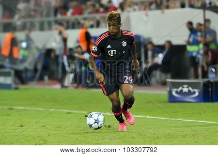 Kingsley Coman During The Uefa Champions League Game Between Olympiacos And Bayern, In Athens, Greec