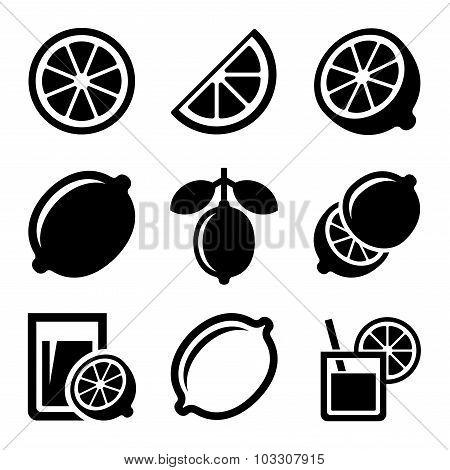 Lemon and Lime Icons Set. Vector
