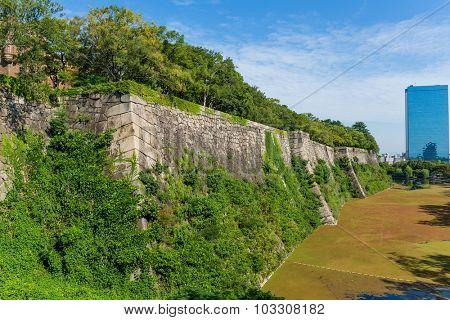 Wall fence of osaka castle