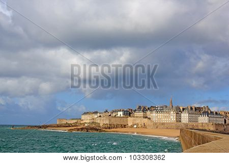 View of the city of Saint-Malo, notice of severe weather (Brittany France)