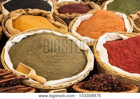 Various Kinds Of Spices In The Marketplace
