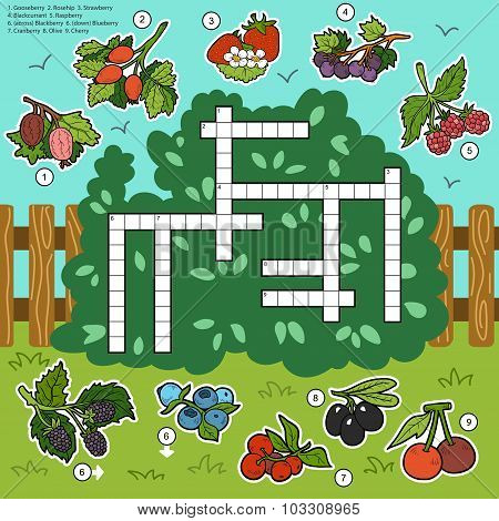Vector Crossword, Education Game For Children About Berries