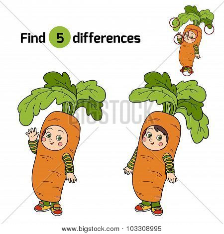 Find Differences For Children: Halloween Characters (carrot Costume)