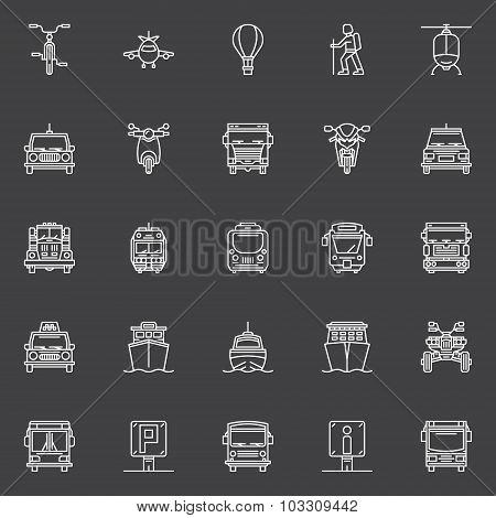 Transportation line icons