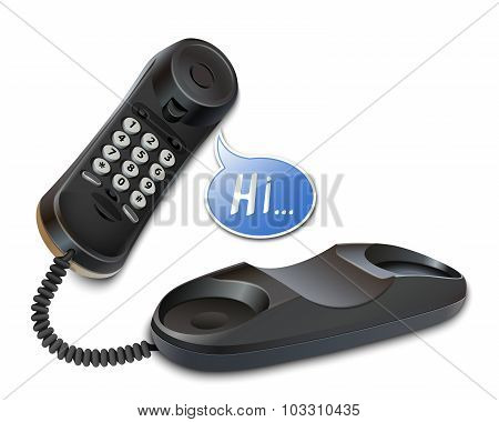 Telephone And Speech Bubble. Vector Illustration