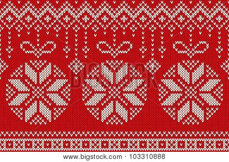 Winter Holiday Seamless Knitting Pattern With Christmas Balls