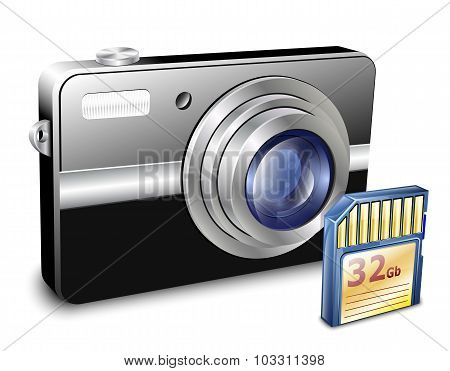 Compact Photo Camera With Memory Card. Vector Illustration