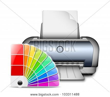 Printer Icon With Color Palette. Vector Illustration