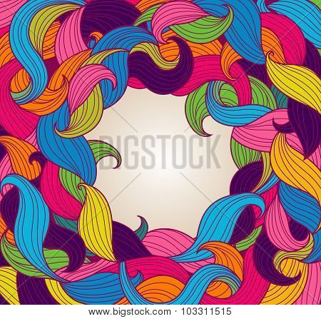 Greeting Card Template With Frame Of Colorful Twirls