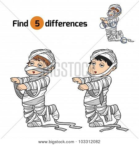 Find Differences For Children: Halloween Characters (mummy)