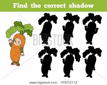 Find The Correct Shadow: Halloween Characters (carrot Costume)