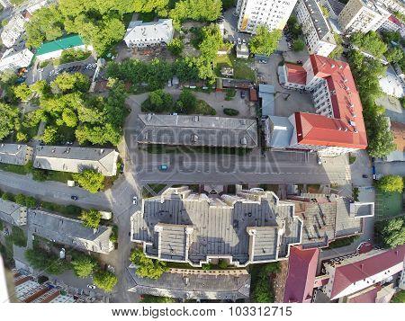 Bird eye view of city suburbs. Tyumen. Russia