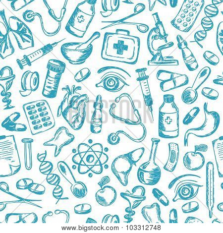 Seamless Pattern Medical Icons And Elements Of Health