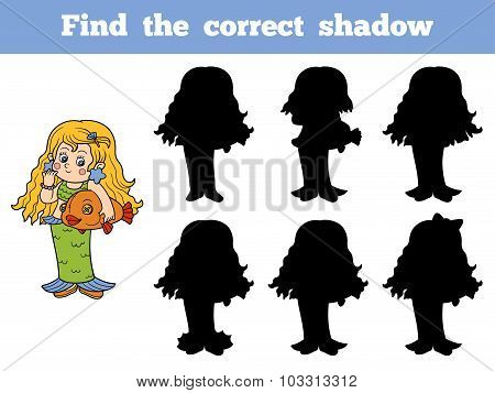 Find The Correct Shadow: Halloween Characters (girl Mermaid)