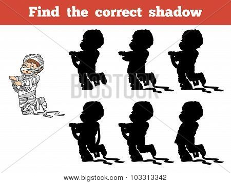 Find The Correct Shadow: Halloween Character (mummy)