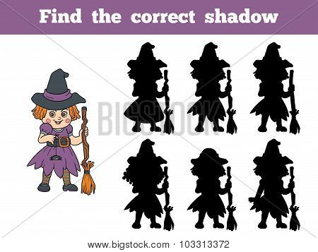 Find The Correct Shadow: Halloween Character (witch)