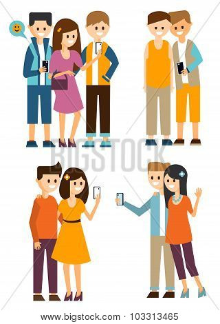 Groups of Young People Make Selfies and Communicate in Social Media