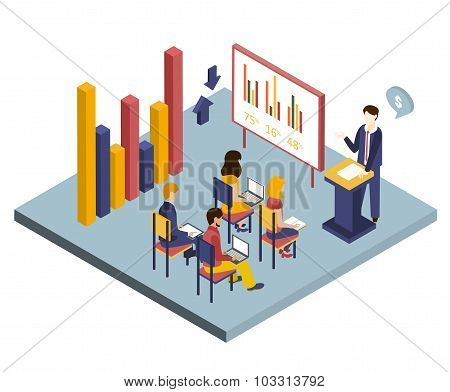 Presentation or Meeting Isometric Vector Illustration