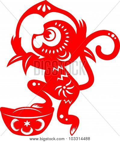 Red paper cut monkey zodiac symbol (monkey holding peach and monkey)