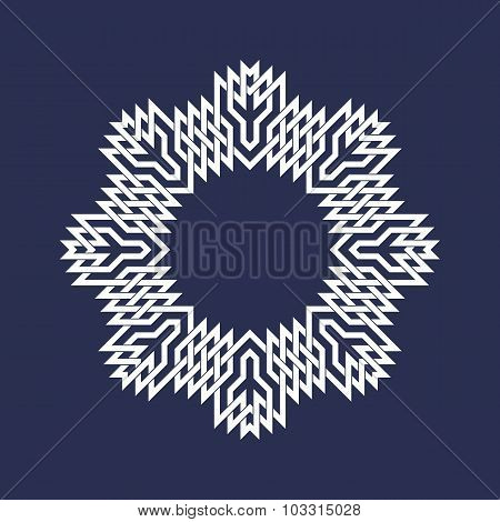 Eight pointed circular pattern in Oriental intersecting lines style.