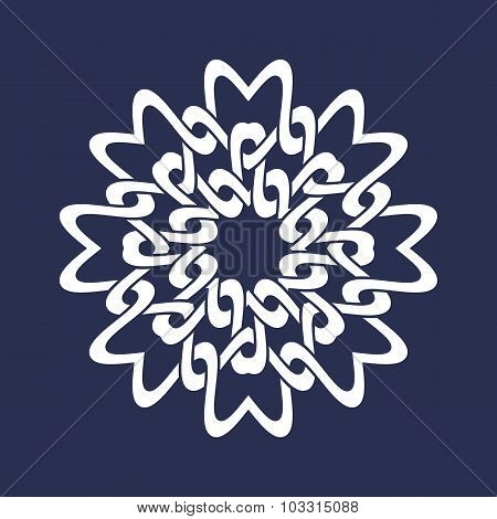 Mandala in snowflakes form on dark background.