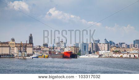 Port Of Naples, Coastal Cityscape With Cargo Ships