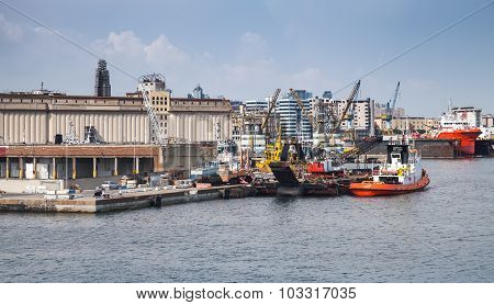 Port Of Naples, Cityscape With Industrial Ships