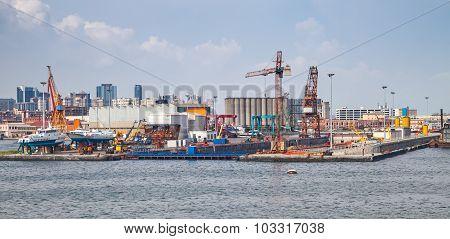 Port Of Naples, Coastal Cityscape With Shipyard