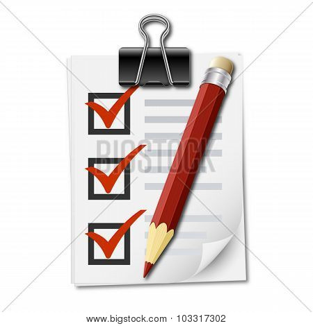 Realistic Icon Of Checklist With Binder Clip And Pencil