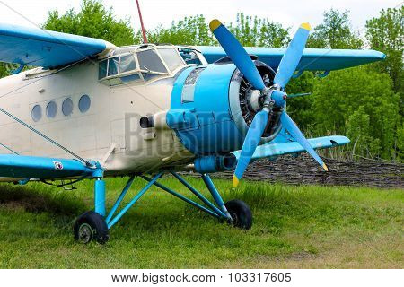 Old retro airplane on green grass